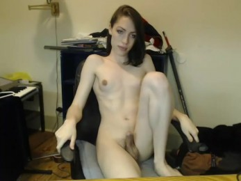 Transsexuel qui s'excite devant sa webcam